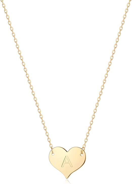 """Small Tiny Heart Necklace Silver or Gold Plated Cute Pendant Girl 14/""""+3/"""" N109"""