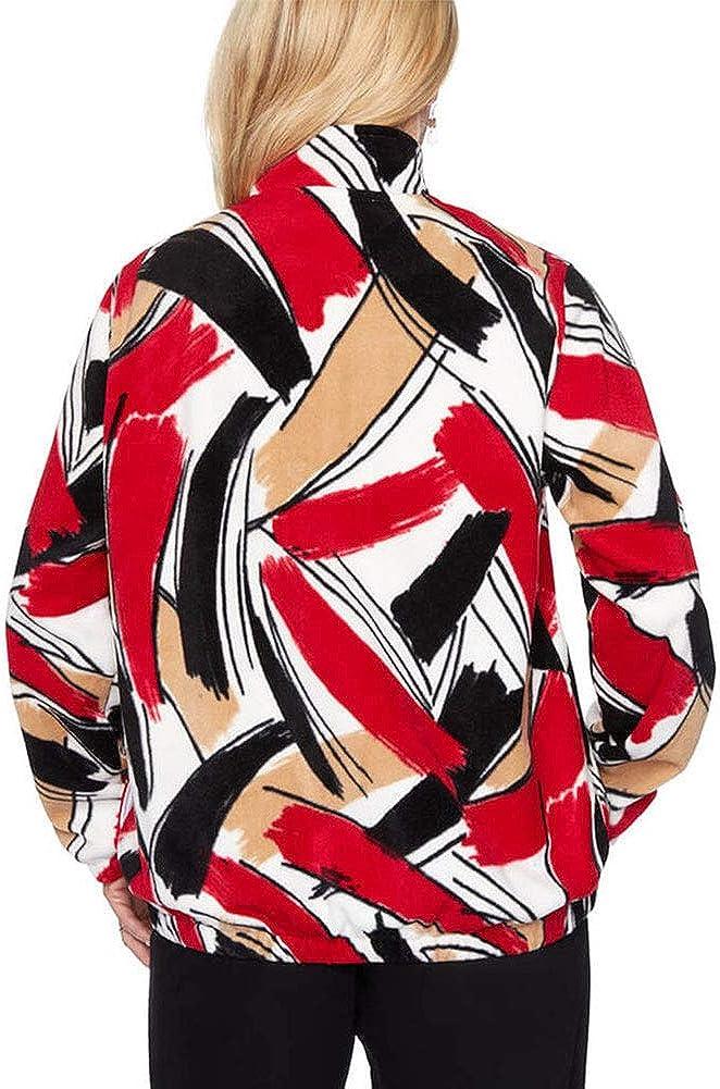 Alfred Dunner Womens Classics Brushstroke Polar Fleece Jacket