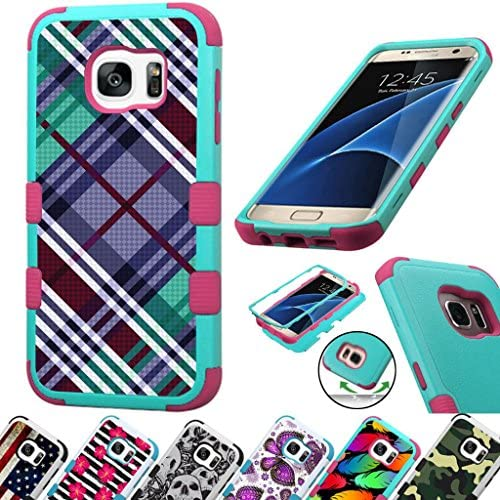 For Samsung Galaxy S7 Edge G935 Case 3-Layer Armor Hybrid Rugged Silicone Phone Cover FancyGuard (Purple Teal Plaid/Pink) Sales