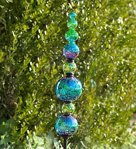 Plow & Hearth 53990-BL Outdoor Glass Finial Totem Garden Stake, (Glass Garden Stake)