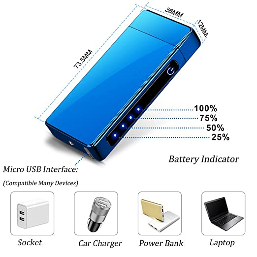 KIMILAR Mechero Eléctrico, Encendedor Eléctrico USB Recargable Doble ...