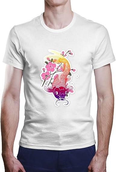 Camiseta Carpa Japonesa.Una Camiseta de Hombre con la tipica Carpa Japonesa. Camiseta Original de Color Blanco: Amazon.es: Ropa y accesorios