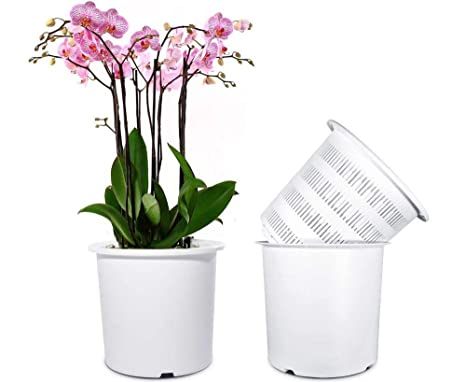Mkono 7 Inch Plastic Orchid Pots Set With Holes And Mesh 2 Inner And 2 Outer Plant Planters