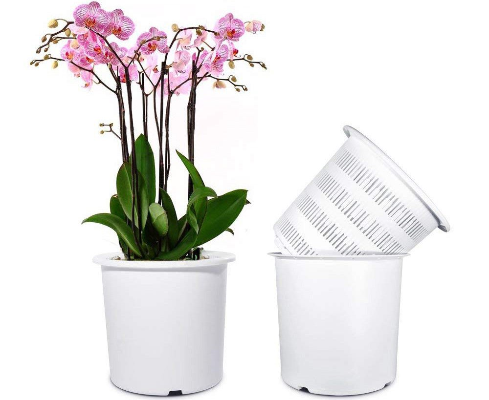 Mkono 7 inch Plastic Orchid Pots Set with Holes and Mesh, 2 Inner and 2 Outer Plant Planters by Mkono