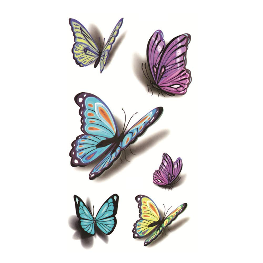 5Pcs Butterfly Temporary Tattoos for Women Girls Realistic Waterproof Tattoos Stickers Removable Non-toxic Body Art Arm 3D Fake Tattoos Men Women Party Favors (Multicolor)