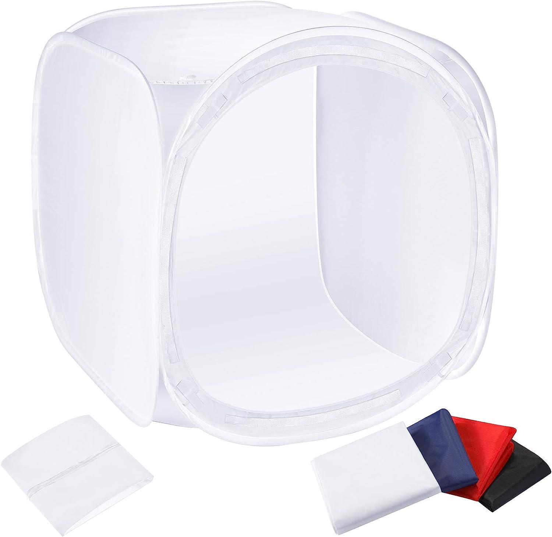 Neewer - Difusor en Forma de Caja para Estudio de fotografía, tamaño 80 x 80 cm, Incluye Cuatro Fondos (Rojo, Azul Oscuro, Negro y Blanco)
