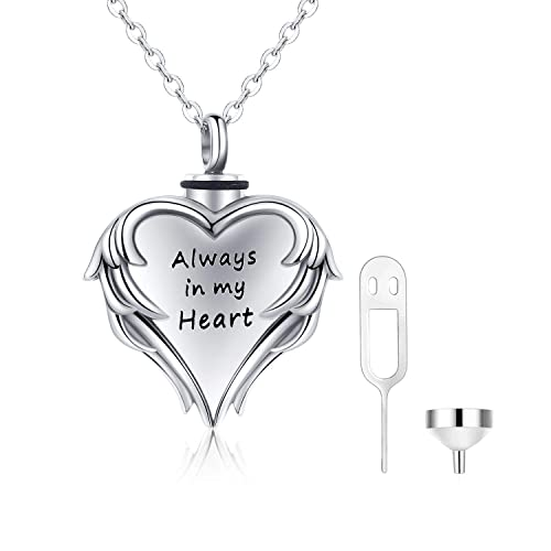 Cuoka Urn Necklaces for Ashes Cremation Jewelry for Ashes 925 Sterling Silver Cremation Necklace for Ashes Angel Wing Always in My Heart Necklace Ashes Necklace Always in My Heart