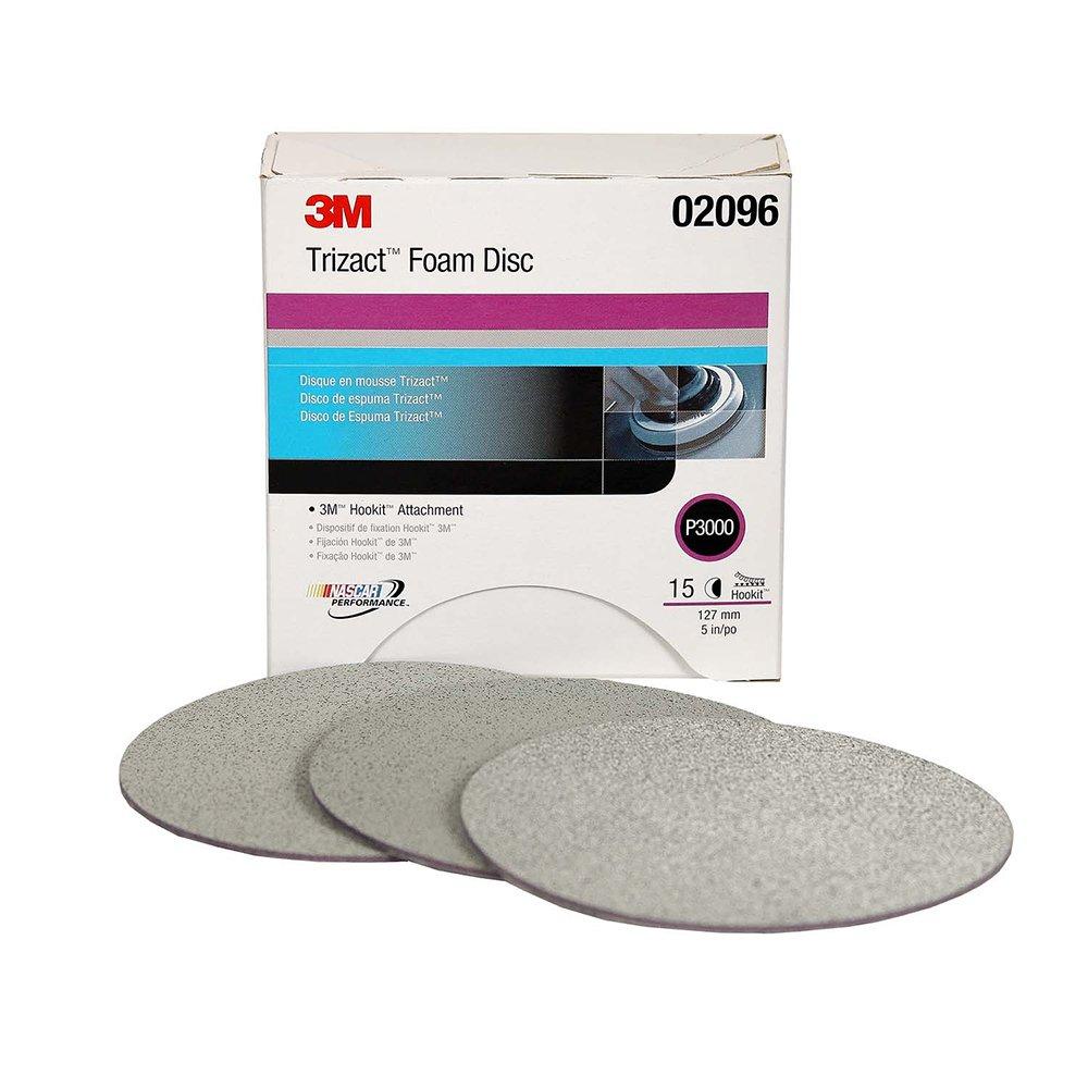 3M Trizact Hookit Foam Disc, 02096, 5 in, 3000, 15 discs per carton