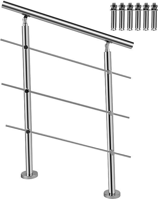 BuoQua Barandillas de Acero Inoxidable con 3 Barras Transversales de Seguridad Pasamanos de Escaleras Longitud de 80 cm, Barandilla de Escaleras Altura de 102,5 cm Fácil de Instalar para Jardín Patios: Amazon.es: Jardín