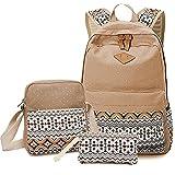 Girls School Backpack Crossbody Bags For Women Travel Bags Bookbag Blue Ethnic 3pcs