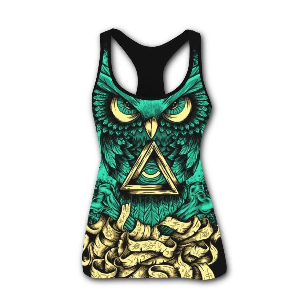 King Owl Tattoos 3D Print Casual Custom Sleeveless Tanks Vest T-Shirt Women Girl XXL