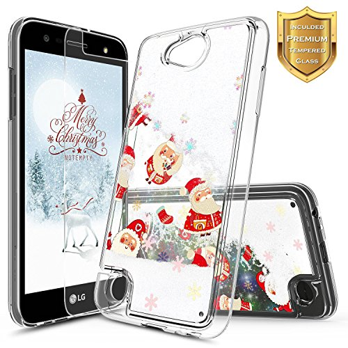 LG Fiesta 2 Case, LG X Power 2 / LG Fiesta LTE / K10 Power with [Tempered Glass Screen Protector] NageBee Quicksand Waterfall Liquid Floating Glitter Flowing Sparkle Bling Luxury Clear Case -Christmas