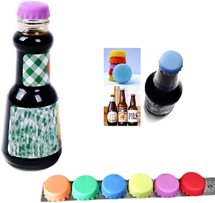 24 Pcs Silicone Rubber Bottle Caps Beer Bottle Keepers, Reusable Bottle Stopper for Home Brewing Beer, Soft Drink, Wine Bottle, Beer Bottle, Wine Cellars Kitchen Gadgets (6 Colors)