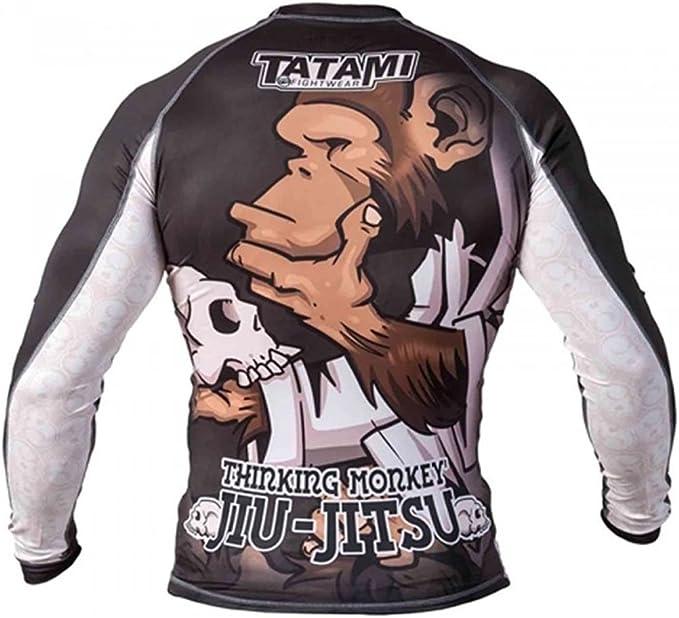 Tatami Thinker Monkey Mens BJJ Rash Guard Long Sleeve Jiu Jitsu Compression MMA