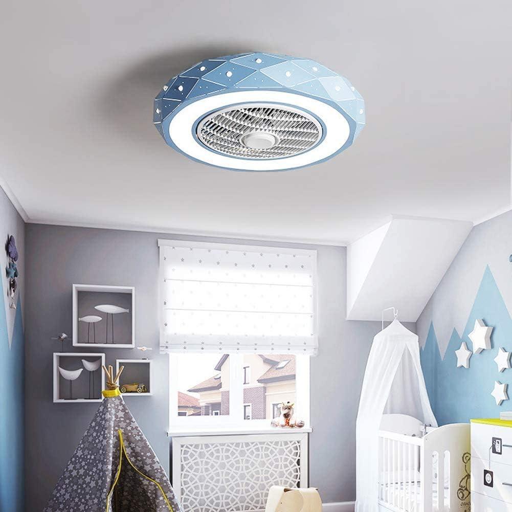 Luz Del Ventilador De Techo Con Lámpara Moderna LED Techo Mando a Distancia,Creative 46W Regulable Ventilador De Techo Invisible Lámpara,3 Velocidades 3 Colores,Ventilador De Bajo Ruid