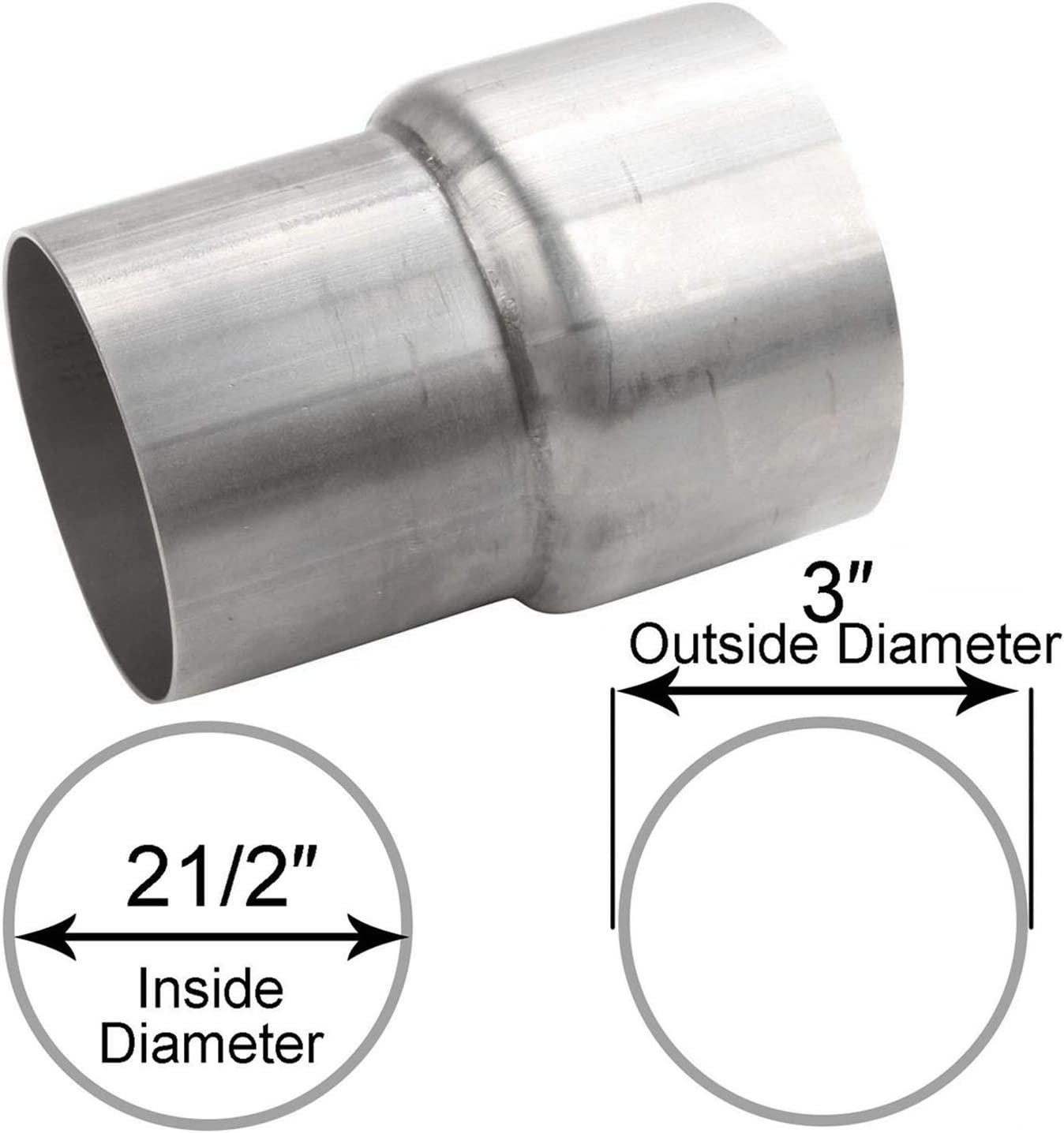 ay autoparts 2 5 inch id to 3 inch od exhaust pipe component to pipe adapter reducer connector t201 stainless steel universal