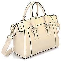 SODIAL Women's Shoulder Bag in imitation leather Satchel Cross Body Tote Bag (Beige)
