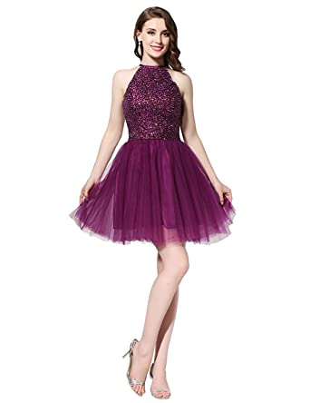 New Short Prom Dresses 2018 with Beaded Pearls Sequined Halter Neck Mini A Line Party Dresses
