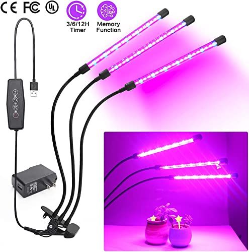 Grow Light, Plant Light for Indoor Plants with Auto On Off Function, Red Blue Spectrum, 3 Tube Head Divide Control Adjustable Gooseneck Desk Clamp Grow Lamp, 3 6 12H Timer, 6 Dimmable Levels