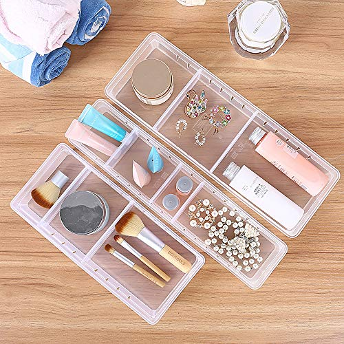 Wang-Data Desk Drawer Organizer Tray with Adjustable Dividers, Stackable Multi-Drawers for Cosmetics, Utensil, Stationery, Flatware Vanity Cabinet, Clear