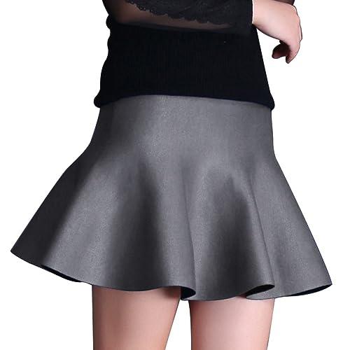 SaiDeng Mujeres De Talle Alto Tricotado Faldas Plisadas Midi Falda Elástico Gris