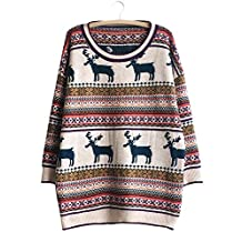 Futurino Women's Round Neck Reindeer Knitted Christmas Tunic Pullover Sweaters
