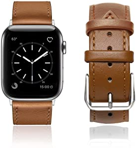 ONMROAD Compatible with iWatch Leather Band 42mm 44mm Vintage Classic Loop Buckle Replacement for Apple Watch Strap Series 5/4 Men Women