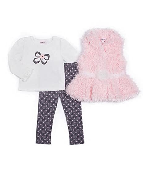 dcd1c96ddee6 Amazon.com  Little Lass Baby Girl 3-pc Faux Fur Vest   Leggings Set ...