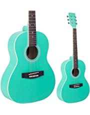 Lindo Traveller Seafoam Green 3/4 Size Acoustic Guitar with Gigbag, Clip-on Tuner, Strap and Spare Strings