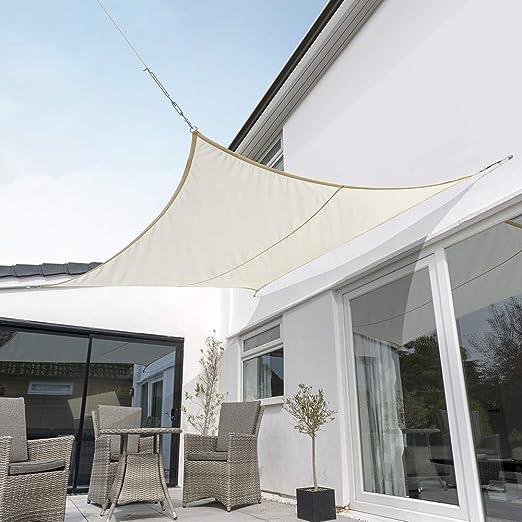 Kookaburra Tenda A Vela Avorio Impermeabile Protezione Anti Raggi 98 Uv Per Ombreggiare Il Giardino Terrazzo O Balcone Quadrata 2 0m