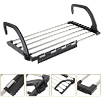 AM ANNA Balcony rack Drying rack,Retractable Stainless Steel Folding Laundry Towel Hanging for Balcony Windowsill Fence Guardrail Clothes Drying Rack with Clips