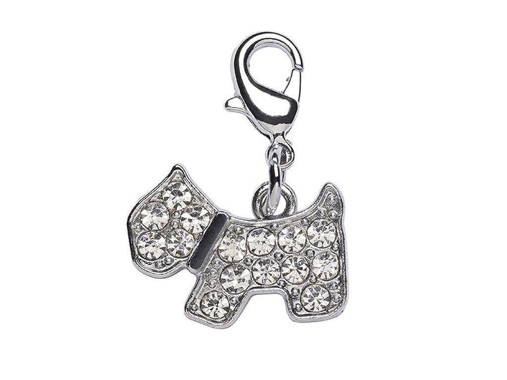 La Loria Femmes-Pendentif Charm avec Strass Dog Attache Mousqueton Chien pour Le Bracelet ou Les Lacets