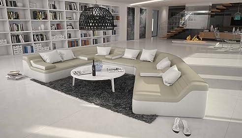 Wohnlandschaft halbrund  Rund-Sofa mit Bezug aus creme / weißem Kunstleder 410x272 cm ...