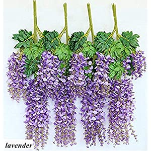 Adan® 24 Pack 3.6 Feet/Pieces Realistic Artificial Silk Wisteria Vine Ratta Silk Hanging Flower Plant for Home Party, Flowers String Home Party Wedding Decor (Purple) 119