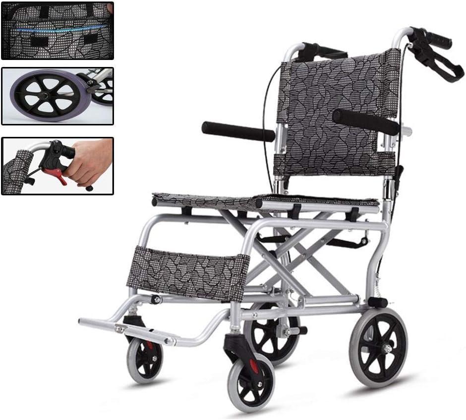 CHAIR Prima de ruedas Ultra-Ligero - Manual plegable silla de ruedas con llantas sólidas, el cinturón de seguridad; Reposabrazos del asiento para el fácil transporte de cómodo