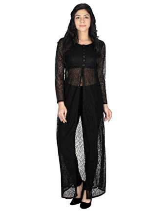 559f2a14 NEWFLYER Women's Designer Net Black Indo-Western Kurti (Women's Clothing  Kurti for Women Latest
