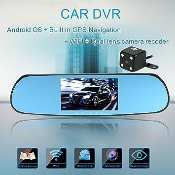 Cámara de coche KKmoon de doble lente HD para retrovisor, videocámara DVR con navegador GPS