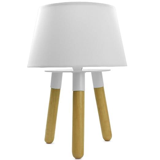 Lámpara de mesa de noche en madera maciza madera/metal con ...