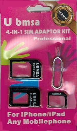 Amazon.com: ubmsa 4 en 1 kit adaptador Nano SIM a SIM Micro ...