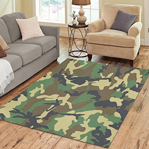 InterestPrint Green Camo Camouflage Area Rug Floor Mat 7'...