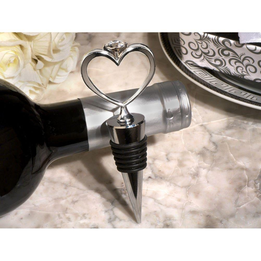 Unique Bling Heart Diamond Ring Silver Wine Stopper - 84 Pieces