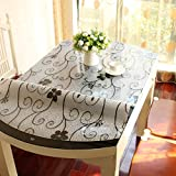 Stretch,Fold/Oval Tablecloth/Transparent Waterproof Table Mat-E 90x150cm(35x59inch)