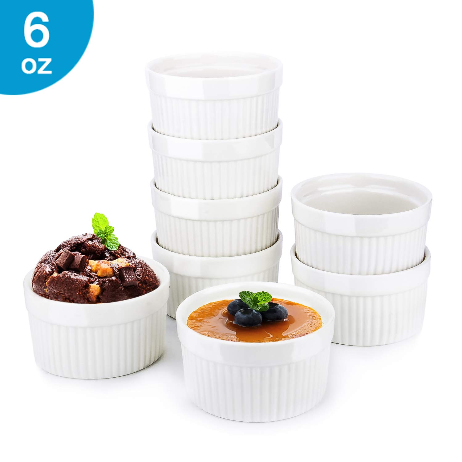 6 Oz Ramekin Bowls,8 PCS Bakeware Set for Baking and Cooking, Oven Safe Sleek Porcelain White Ramikins for Pudding, Creme Brulee, Custard Cups and Souffle Small instant table tray