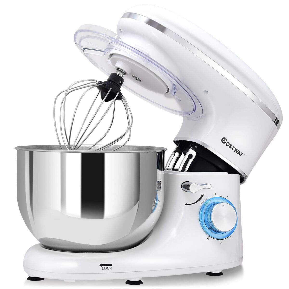 COSTWAY Stand Mixer, 6.3-Qt 660W 6-Speed Electric Mixer with Stainless Steel Bowl, Tilt-Head Food Mixer with Dough Hook, Beater, Whisk (White)
