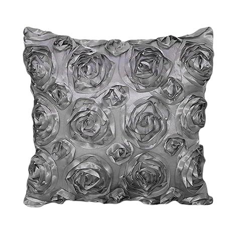 nikgic 1 funda de almohada 3d rosas diseño applicable en los coches sala de boda decoración de muebles, tamaño: 40 * 40 cm, poliéster, gris, 40*40cm