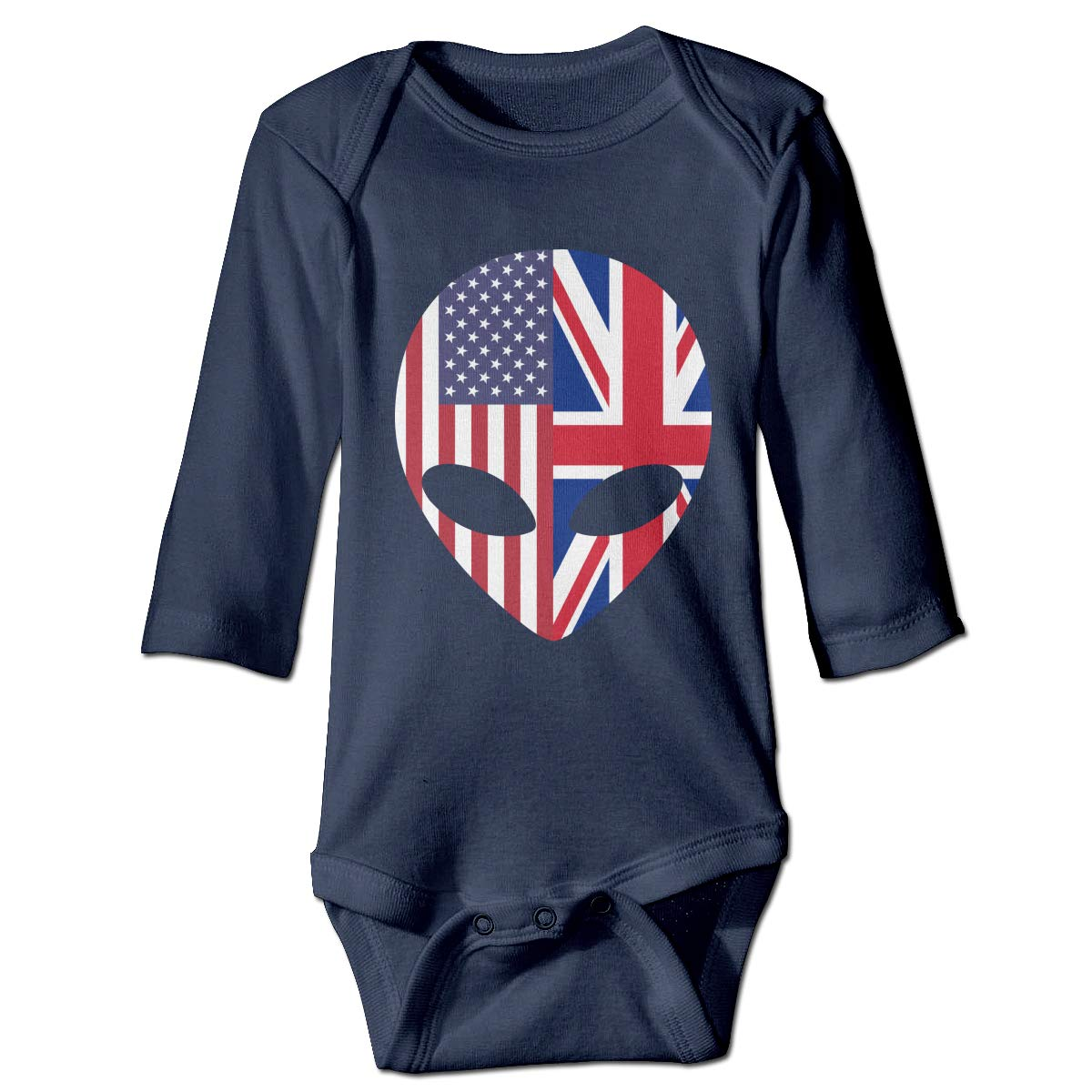 Q98BABY Infant Babys Long Sleeve Jumpsuit Romper Alien American British Flag Print Jumpsuit