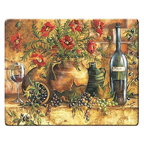 Grant Howard Italian Wine Grape Floral Tempered Glass Cutting Carving Board 12 by 15 Inches