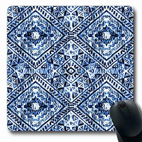 Mousepads Pattern Indian Winter Watercolor Hand Blue Snow Batik Istic Bright Non-Slip Gaming Mouse Pad Rubber Oblong Mat
