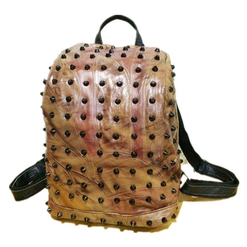 Lady's stitching Backpack Travelling bag Handbag Stylish lady backpack (Apricot)