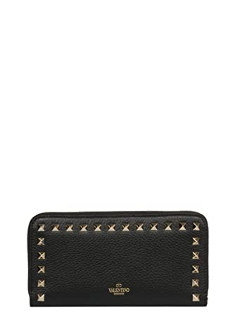 59ef085fd5 Image Unavailable. Image not available for. Color: Valentino Garavani  Women's Rw2p0645vsh0no Black Leather Wallet
